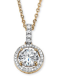 Round Cubic Zirconia Floating Pendant Necklace