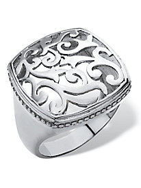 Silver Squared Filigree Ring