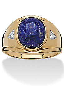 Men's Genuine Oval-Cut Lapis Ring