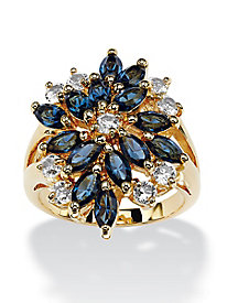 Sapphire Blue Marquise-Cut Crystal Cluster Cocktail Ring