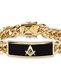 Oblong Masonic Insignia Simulated Onyx Curb-Link Bracelet