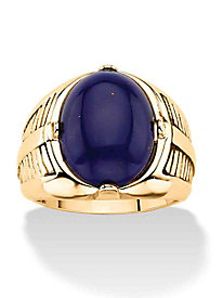 Men's Oval-Cut Genuine Blue Lapis Etched Cabochon Ring Platinum-Plated
