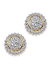 Round Pavé Diamond Accent Two-Tone Cluster Stud Earrings