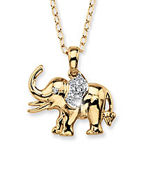 Lucky Elephant Diamond Accent Charm Pendant Neckla