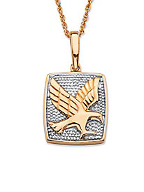 Diamond Accent Two-Tone Flying Eagle Pendant Necklace