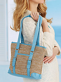 7-Pocket Straw Handbag