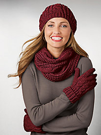 Cable Knit Hat, Scarf & Gloves
