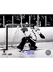 Eddie Giacomin B/W Kick Save signed 8x10 Photo w/
