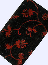 PVC-Backed Printed Coir Mat - Red Flowers, 18x30