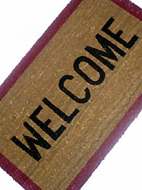 PVC-Backed Printed Coir Mat - Welcome, 18x30