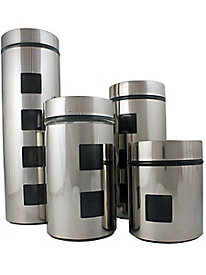 4 pc. Stainless Steel & Glass Canister Set