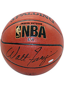 Walt Frazier Autographed Brown NBA I/O Basketball(Signed in Black)