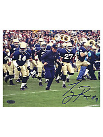 Tony Rice Autographed Lou Holtz Running With Team Horizontal 8x10 Photograph