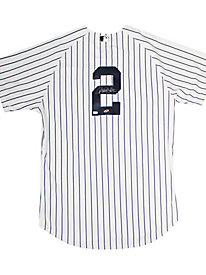 Derek Jeter Autographed Authentic Yankees Pinstripe Jersey(Signed on Back)(MLB Authenticated)