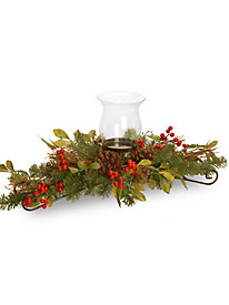 "30"" Decorative Collection Centerpiece w/Candle Holder & Glass Cup w/Berries, Cones & Leaves 117650"