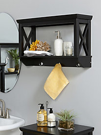 X-Frame Collection - Wall Shelf with Hooks