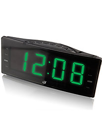 Dual Alarm AM/FM Clock Radio with Green LED Display