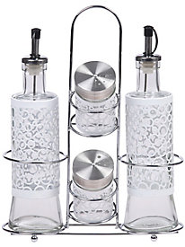 White 5 pc. Glass Condiment Set with Stainless Steel Rack