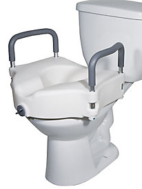 2-in-1 Elevated Toilet Seat w/ Removable Arms