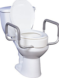 Raised Toilet Seat with Removable Arms for Elongated Toilets