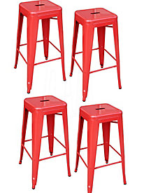 AmeriHome 30-Inch Red Metal Bar Stools