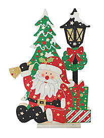 "17.5"" Santa / Lamp Post with 13 Warm White Battery Operated Indoor Lights-BAT-Pack 1"