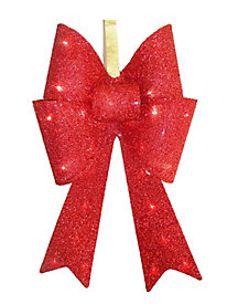 "20"" Red Tinsel Bow with 13 Warm White LED Lights"
