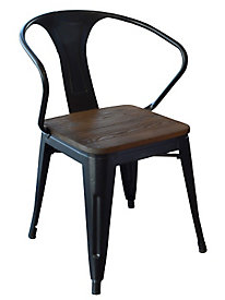 AmeriHome Loft Black Metal Dining Chair with Wood Seat- 4 Piece