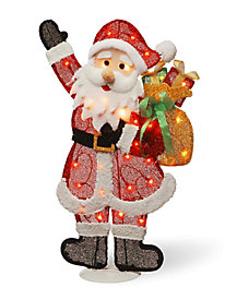 "31"" Red Tinsel Flat Santa with 35 Clear Lights"