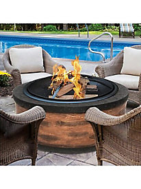 Sun Joe® 35-in. Cast Stone Fire Pit w/Dome Screen and Poker, Rustic Wood
