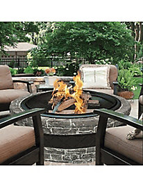 Sun Joe� 35-in. Cast Stone Fire Pit w/Dome Screen and Poker, Classic Stone