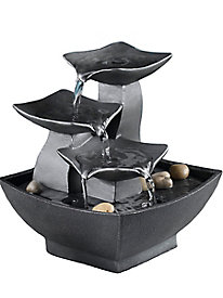Natura Metal Leaves Tabletop Fountain