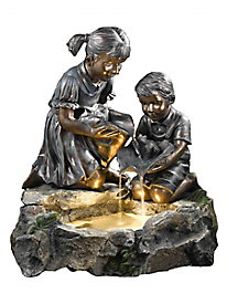 Fratelli Siblings Rock Indoor/Outdoor Fountain with Light