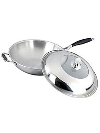 Gourmet Chef 12 Inch Tri-Ply Stainless Steel Wok