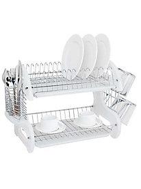 Home Basics 2-Tier Plastic Dish Drainer 146562