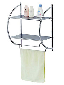 Home Basics Chrome Bathroom 2-Tier Shelf