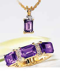 3-Carat Amethyst and Diamond Ring