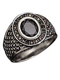 Gallant Silvertone Shield Ring