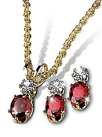Garnet Necklace & Earring Set