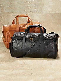 Side-Opening Leather Duffel Bag