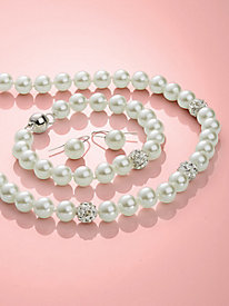 Genuine Shell Pearl Necklace & Bracelet Set
