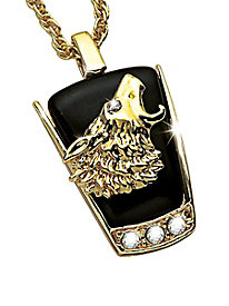 Men's Wilderness Collection Wolf Onyx Pendant