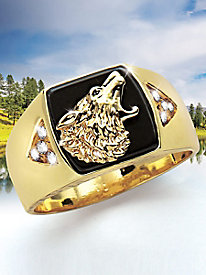 Men's Wilderness Collection Wolf Onyx Ring
