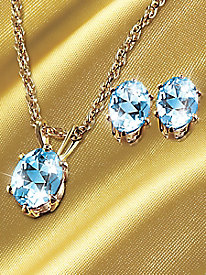 3-Ct. T. W. Topaz Necklace & Earring Set