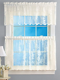 3-Pc. Set Floral Lace Curtains