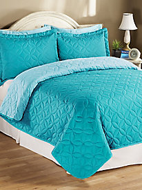 Reversible Turquoise Pinsonic Bedspread
