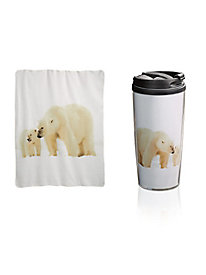 Cozy Fleece Throw & Travel Mug Set