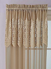 Valerie Lace Pole-Top Panel With Attached Valance