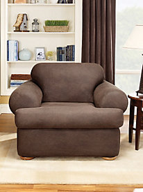 Stretch Leather 2-Piece T-Cushion Slipcover