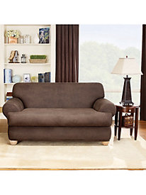 Stretch Leather 2- Piece T- Cushion Chair Cover